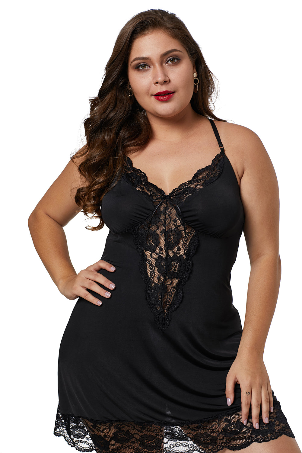 Black Venecia Lace Trim Plus Size Chemise