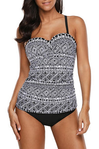Black White Geometric Pattern Strappy Back 2pcs Tankini Swimsuits