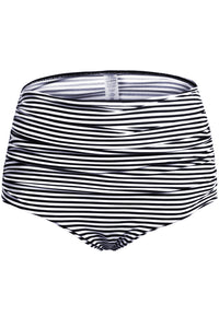 Black White Striped High Waisted Bikini Bottom