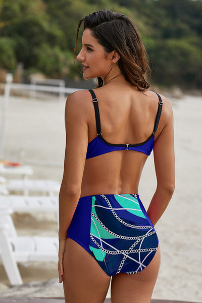 Blue Abstract Chains Print Push up High Waist Bikini Set