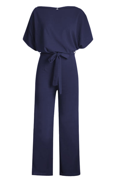 Chic Blue Oh So Glam Belted Wide Leg Jumpsuit