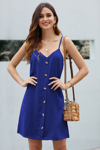 Blue Buttoned Slip Spaghetti Strap Short Dress
