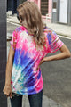 Blue Getting Ripped Raglan Short Sleeve Tie Dye T-shirt