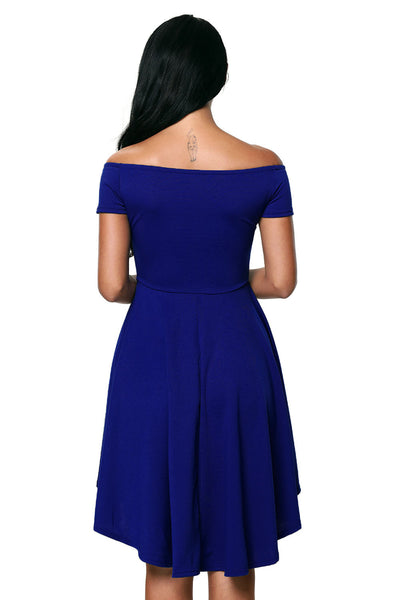 Blue All The Rage Skater High Low Cocktail Dress