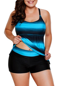 Blue Black Color Block Criss-Cross Straps Plus Size Tankini Set