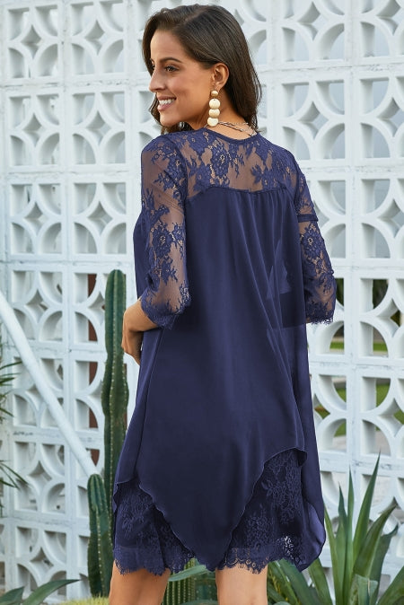 e7c5452b3b2 Blue Chiffon Overlay Three Quarter Sleeve Lace Dress MB220594-5 ...