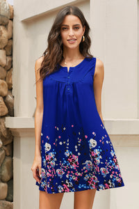 Blue Crew Neck A-Line Daily Floral Dress