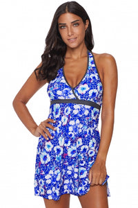 Blue Floral High Waist Swim Dress with Panty