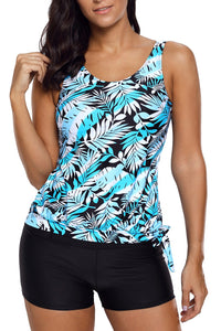 Blue Leaf Print Tie Side Tankini Short Swimsuit