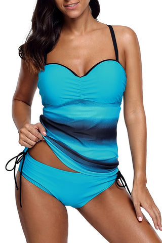 Blue Ocean Color Sweetheart Tankini Swimsuit
