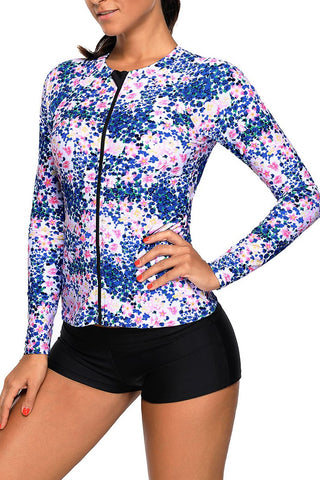Blue Pink Little Flower Zipped Rashguard Swim Top