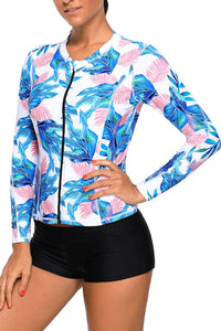 Blue Pink Tropical Leaf Zipped Rashguard Top