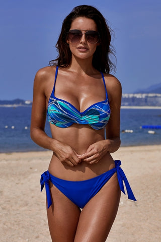 Blue Printed Top Self-tie Panty Bikini Swimwear