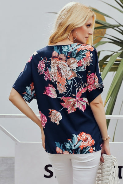 Blue Short Sleeve Amaryllis Floral Twist Top