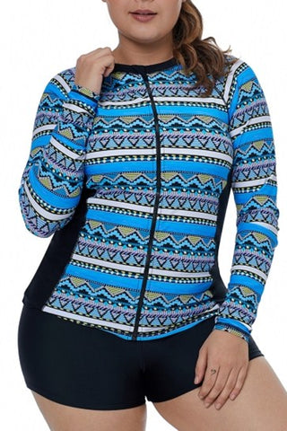 Blue Tribal Geometry Front Zip Rashguard Swim Top