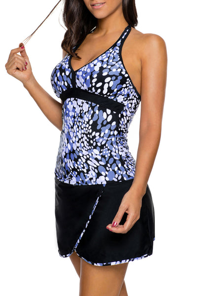 Blue White Spots V-neck Tankini Black Wrapped Skirt Swimsuit