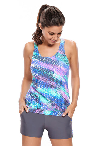 Bluish Print Blouson Tankini Swimsuit with Grey Board Shorts