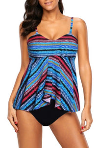 Boho Bandeau Flyaway Top & High Waist Tankini Set