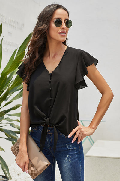 Brief Black Forever Tonight Button Down Tie Top