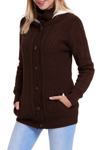 Brown Long Sleeve Button-up Hooded Knit Cardigans