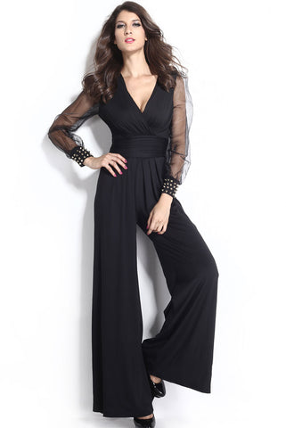 Black Embellished Cuffs Mesh Long Sleeves Wide Leg Jumpsuit