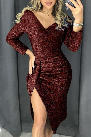 Burgundy Glitter Ruched Thigh Slit Party Bodycon Dress