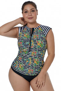 Cap Sleeve Floral and Striped Rash Guard Swim Top