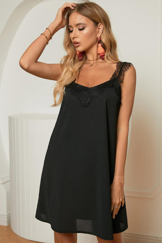 Casual Black V Neck Lace Shoulder Sleeveless Mini Dress