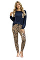 Casual Blue Long Sleeve Leopard Pants Loungewear Set