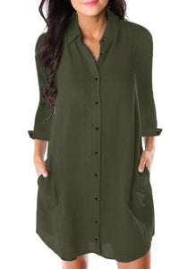 Casual Army Green Long Sleeve Button Down Crepe Shirt Dress