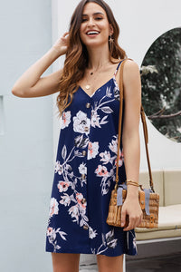 Casual Blue Floral Pattern Buttoned Slip Cami Dress