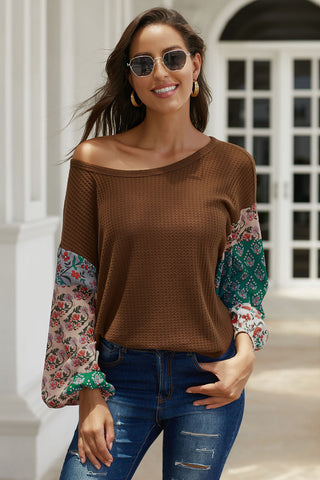 Casual Brown Floral Long Sleeve Pullover Top