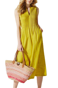 Summer Yellow V Neck Pleated Sleeveless Dress