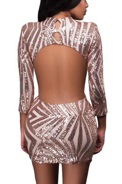 Champagne Sequin Detail Open Back Party Club Dress