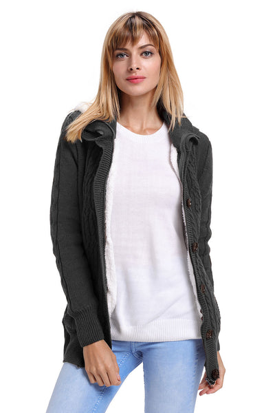Charcoal Long Sleeve Button-up Hooded Knit Cardigans