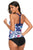 Chic White Blue Floral Print Y Back Tankini Top