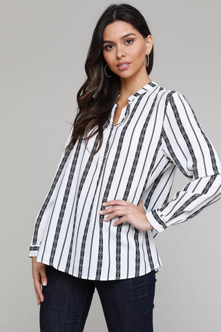 Classic Black White Striped V Neck Button Up Blouse
