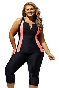 Contrast Orange Accent Black Zipped Women Plus Size Tankini Wetsuit
