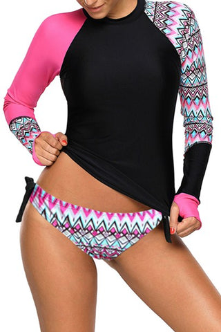 Contrast Rosy Black Detail Long Sleeve Tankini Swimsuit