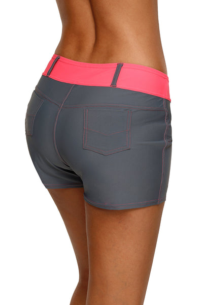 Coral Waistband Faux Denim Sports Shorts Swim Bottoms