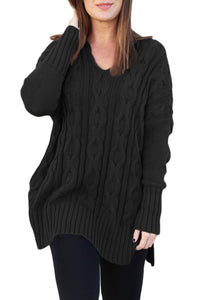 Cotton Black Oversized Cozy up Knit Sweater