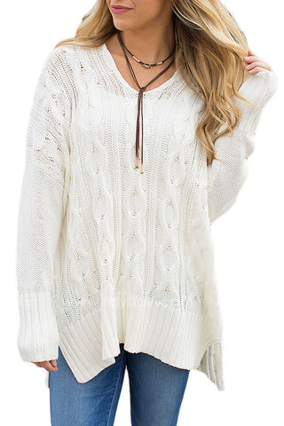 Cotton White Oversized Cozy up Knit Sweater