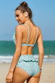 Cute Sky Blue Fruit Print Ruffled Detail High Waist Bikini