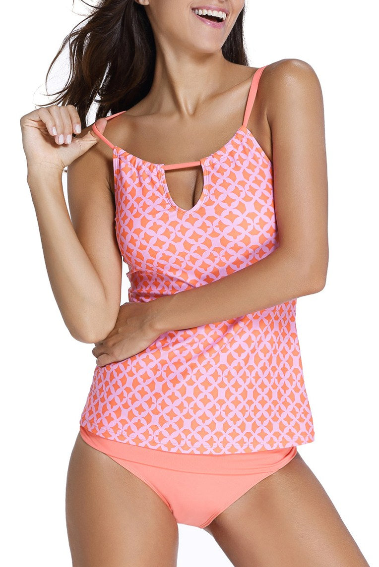 Cute Orange Coastal Geo Print 2pcs Tankini Swimsuit