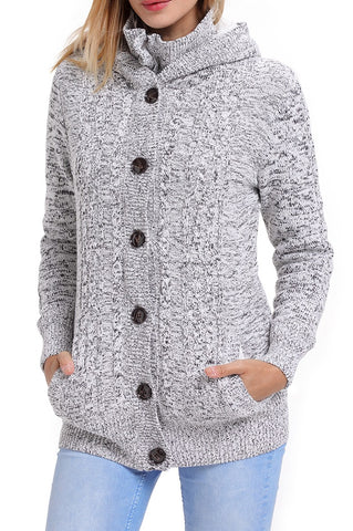 Dark Gray Long Sleeve Button-up Hooded Knit Cardigans