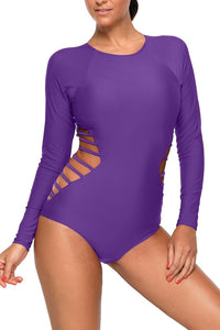 Dark Purple Long Sleeve Strappy Hollow-out One-piece Surf Swimsuit