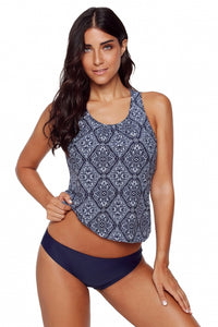 Diamond Print Beach 2pcs Tankini Swimsuit