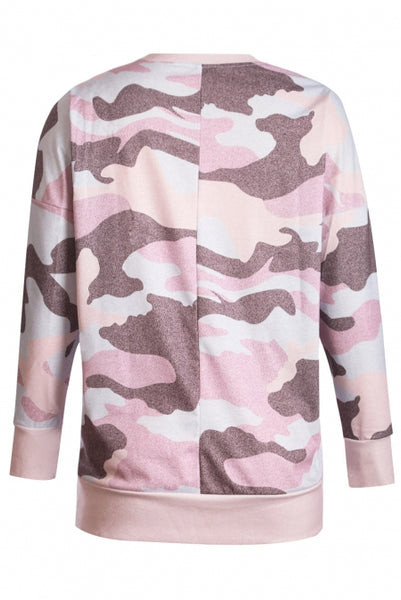 Dusty Pink Digital Camo Print Sweatshirt