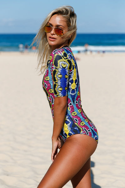 Fashion Abstract Print Zip Front Half Sleeve One Piece Swimsuit