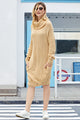 Fashion Apricot Heap Collar Mini Knit Dress
